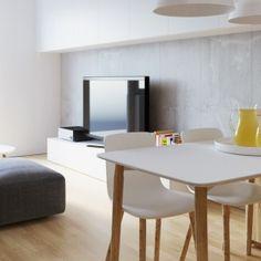 W mieszkaniu wiele elementów wykonano z drewna. Wprowadza ono ciepłą atmosfere do oszczędnie udekorowanego wystroju wnętrza. Projekt i wizualizacje: 081 Architekci.
