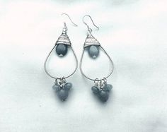 Dark Blue Wire Wrapped Hoop Earrings by MaggiMakesIt on Etsy, $15.99