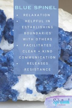Blue Spinel is a stone of relaxation - it releases resistance, and facilitates clear and kind communication.  Blue Spinel is a helpful ally for those who need assistance in keeping boundaries with others.  #crystalmeaning #crystalinfo #crystalshop #crystalaesthetic #metaphysicalstore #metaphysicalspirituality #bluespinel