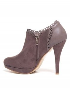 Chaussures femme Sinly: Bottines taupe à talon
