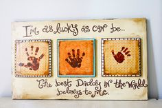 Fathers Day Gift: Lucky Handprint Plaque