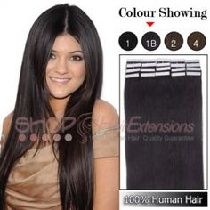 20 Inch 20pcs Tape Premium Remy Human Hair Extensions Straight (#1B Natural Black),£38.71