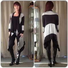NEW BLACK & GRAY WRAP CARDIGAN New in package gray & black large horizontal striped sweater wrap with open draped front, long sleeves & beautifully soft fabric. Its great for wrapping up on a fall day Poshing  or as a cover up over a dress or with jeans. Nice look to add to your fall wardrobe & very cozy! Sweaters Cardigans