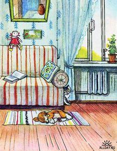 Entre Lápis e Pincéis: Agosto 2011 Art Sketches, Art Drawings, Sleeping Animals, House Drawing, Children's Book Illustration, Illustrator, Creatures, Artwork, Artist