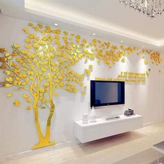 Large Size Couple Tree Mirror Wall Stickers TV Backdrop DIY Acrylic Autocollant Mural Home Decor Living Room Wall Decals Tree Wall Decor, Art Decor Diy, Acrylic Wall Decor, Gold Walls, Living Decor, Wall Murals Diy, Gold Wall Stickers, Wall Stickers Room, Mirror Wall Stickers