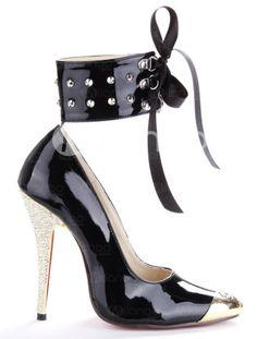 Black Patent Leather Rhinestone Heels