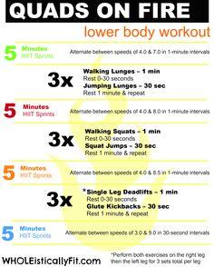 Quads On Fire! Lower Body #Workout via WHOLEisticallyFit.com