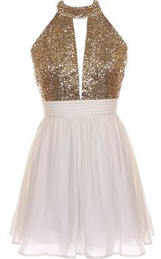 Halter Bomb Dress: Features an ultra-elegant halter neck design with a cleverly cut opening to the front, glittering gold bodice teamed with a sexy open back, and a twirl-worthy ivory A-line skirt to finish.