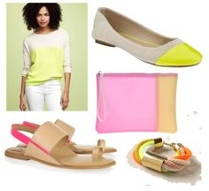 """A """"conservative"""" way to wear neon this Spring/Summer for those who may be afraid of neons. :) Btw, these neon yellow cap toe flats just made their way into my closet. Thank you Old Navy. They look just like the Kate Spade ones but not for $ 198. :) #shopsmart"""