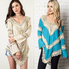 Umgee Usa Crochet combinación bohemia Hippie Manga Larga túnica Turquesa Natural de S-Xl