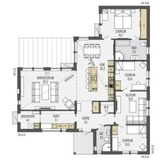 Larvik planlösning - plan 1 Small House Plans, House Floor Plans, House Outline, Compact House, Villa, Swedish House, Sims House, Plan Design, My Dream Home