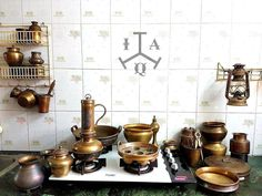 Indian Antique Quest - Antique e-retailer . Indian Antique Quest is an Antique Curio E-retailer founded with a vision to provide… Kitchen Wall Cabinets, Kitchen Furniture, Kitchen Interior, Kitchen Sets, New Kitchen, Vintage Kitchen, Kitchen Layout, Brass Kitchen, Kitchen Utensils