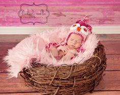 SET Soft Pink Fur and Wood Branch Nest Owl Bird Photography Prop Newborn Baby Infant