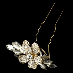 Elegance by Carbonneau Pin93G Gold Plated Bridal Hair Pin 93