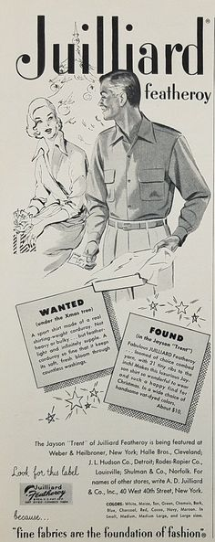 1953 Jayson Trent Juilliard Featheroy Sport Shirt Vintage Ad - Couple Christmas Gifts