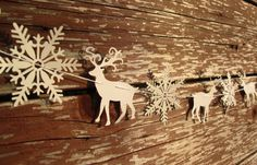 Christmas garland white deers and snowflakes by Zyles on Etsy, $8.00