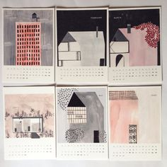 2017 Houses Calendar  Handmade item - All original illustrations are prints of handmade illustration made by me - Materials: paper, ink and fold-back clip - Ships worldwide from Portugal - Shipped in a protective plastic sleeve with cardboard backing, in a sturdy envelope - Immediate availability  Details: - Sizes: A5 (21x14,9 cm) - 14 pages: 12 months on 12 pages plus front cover and back - Printed on 220 gsm Winsor & Newton medium grain paper  Thanks for looking! http://www.anafrois.com