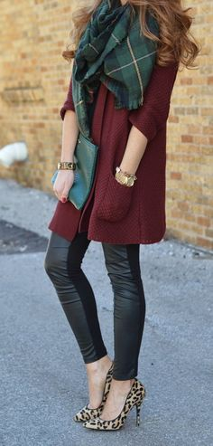 Leopard heels and blanket scarf