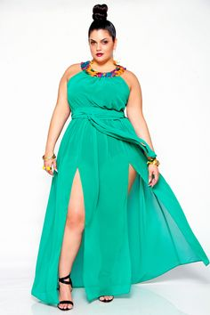 JIBRI Plus Size Sheer Sequin Neck Poolside Dress