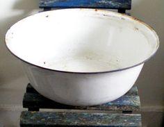 Very Large Vintage Enamel Wash Bowl  possibly by GetintoVintage