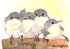 ACEO Limited Edition  Four Little Birdies in by annalee377 on Etsy