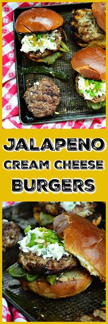 These Jalapeno Cream Cheese Burgers are sure to please anyone. Luscious cream cheese, mixed with spicy jalapenos and onions is an easy way to dress up any burger! #burgers #burgertoppings #jalapenos www.thisishowicook.com