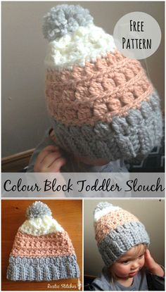Crochet Hat Free Pattern - Toddler Slouch Hat from Rustic Stitches Crochet Toddler Hat, Crochet Kids Hats, Cute Crochet, Crochet Crafts, Crochet Clothes, Knitted Hats, Slouch Hats, Crochet Mittens Free Pattern, Crochet Patterns