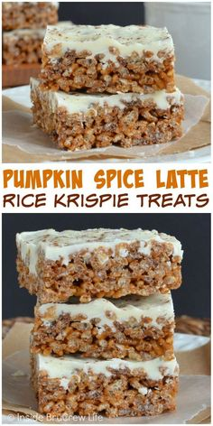Rice Krispie Treats with a pumpkin spice and coffee twist is a fun fall treat for parties. (Fall Recipes Treats)