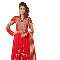 Red Faux Georgette and Net Anarkali Churidar Kameez
