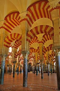ARCHES. The Mezquita (Mosque) Cathedral in Cordoba is known for its amazing moorish architecture, like the famous arches of the praying hall.