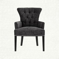 Alexis Tufted Upholstered Dining Arm Chair in Elizabeth Charcoal and Black