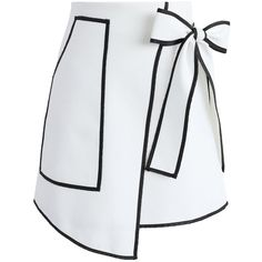 Chicwish Urban Vogue Flap Skirt in White (5000 RSD) ❤ liked on Polyvore featuring skirts, faldas, white, tie-dye skirt, pocket skirt, bow skirt, bow tie skirt and white knee length skirt