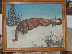 Vintage Cougar Painting So Real Looking by Daysgonebytreasures