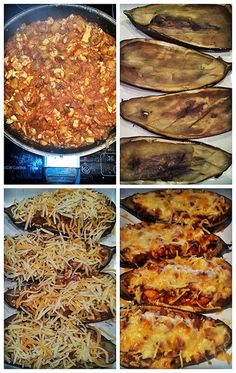Berenjenas rellenas de pollo y champiñones. Metemos las berenjenas al horno para sacarle con facilidad la carne.  Hacemos un sofrito de cebolla, champiñones, pollo, la carne de las berenjenas y salsa de tomate.   Rellenamos las berenjenas, echamos queso rallado y lo hacemos al horno. Eggplant Recipes, Vegetable Recipes, Appetizers, Menu, Favorite Recipes, Healthy Recipes, Food And Drink, Dinner, Vegetables