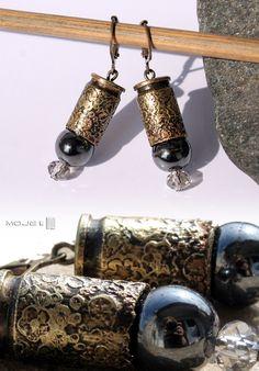 Kolczyki z mosiężnych łusek i hematytu. Earrings. Moje MW