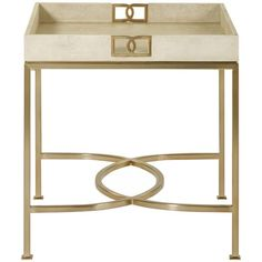 Bernhardt Salon, Salon End Table with Tray Top, End Tables & Accent Tables, White, Wood, Metal, Square, Contemporary
