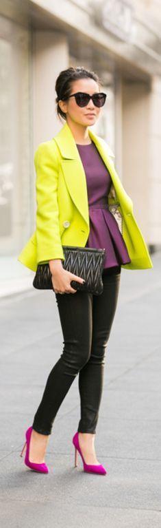 Bold- Lime Green Blazer, Purple Silk Peplum Top, Black Leather Pants, Fuchsia Heels