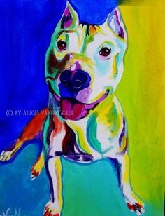 Colorful Pet Portrait Pit Bull Art Dog Print 8x10 by dawgpainter, $10.00