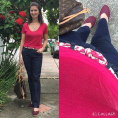 Look com calça jeans, blusa rosa, lenço usado como cinto e espadrile vinho.