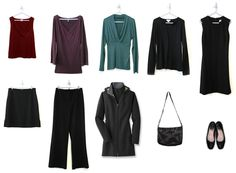 This for adult woman, but the idea of building around a core: minimalist wardrobe: black skirt, black sweater, black pants, black shift dress. Three colored tops, black flats, handbag, and coat.