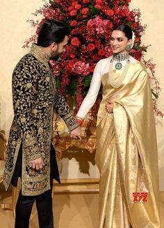 wedding saree and wedding saree indian Top 5 South Indian Wedding Saree Trends Indian Reception Dress, Wedding Dresses Men Indian, Reception Sarees, Indian Bridal Outfits, Wedding Reception, Deepika Padukone Saree, Shraddha Kapoor, Ranbir Kapoor, Priyanka Chopra
