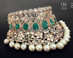 pachi work bridal choker by C krsihnaiah chetty and sons jewellers, flat diamond emerald heavy necklace in 22 carat gold Indian Jewelry Sets, Indian Wedding Jewelry, Bridal Jewelry, Engagement Jewellery, Ethnic Jewelry, Bridal Jewellery Inspiration, Emerald Jewelry, Gold Jewellery, Latest Jewellery