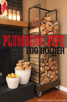 Make an Awesome Firewood Rack Using Plumbing Pipe - chopped wood as functional m. - Make an Awesome Firewood Rack Using Plumbing Pipe – chopped wood as functional modern rustic art - Home Projects, Furniture Projects, Garden Furniture, Furniture Plans, Furniture Storage, Plumbing Pipe Furniture, Industrial Furniture, Diy Indoor Furniture, Bedroom Furniture