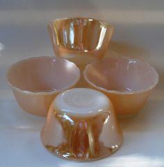 Four Vintage Fire King Lusterware Custard Cups, Small Dessert Bowls