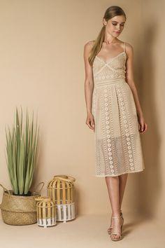 Corset style midi lace dress.
