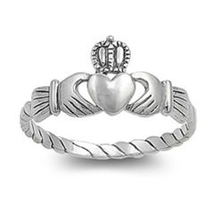 Sterling Silver Claddagh Ring size 4 Kids Heart Baby Midi Irish Ladies New p16 #Unbranded