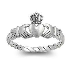 Sterling Silver Claddagh Ring size 4 Kids Heart Girls Boys Baby Irish Ladies p16 #BladesBling