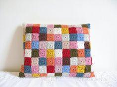 Teeny granny square cushion... want it now!