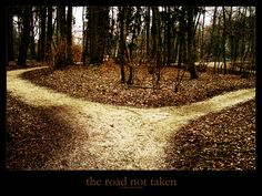 The Road Not Taken | Robert Frost - Two roads diverged in a yellow wood,  And sorry I could not travel both  And be one traveler, long I stood  And looked down one as far as I could  To where it bent in the undergrowth;  Then took the other, as just as fair,  And having perhaps the better claim,  Because it was grassy and wanted wear;  Though as for that the passing there  Had worn them really about the same,  And both that morning equally lay  In leaves no step had trodden black.