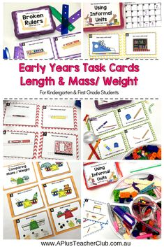 "Teaching Non-Standard measurement helps kids to learn how to measure but without using rules, tapes or scales. Check out these fun Kindergarten activities and our secret weapon... the ""Messy Box"" to help you teach measurement hands-on. Download our free Measurement Cheat Sheet from our website. APlusTeachingResources.com.au #measuring #teaching #mathactivities"